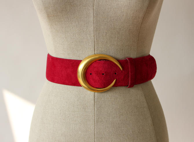 Vintage 80s Donna Karan Ruby Pink Suede Belt with Robert Lee Morris Crescent Buckle | Made in Italy | 1980s Designer Genuine Leather Belt by TheVault1969