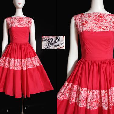 BEAUTIFUL Suzy Perette Vintage 50s 60s Dark Pink & White Floral Fit and Flare Cotton Dress by RETMOD