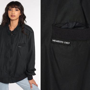 Members Only Jacket 80s Black Bomber Zip Up Windbreaker Cafe Racer Moto Hipster Epaulette Coat Vintage 1980s Lightweight Plus Size xxxl 3xl by ShopExile