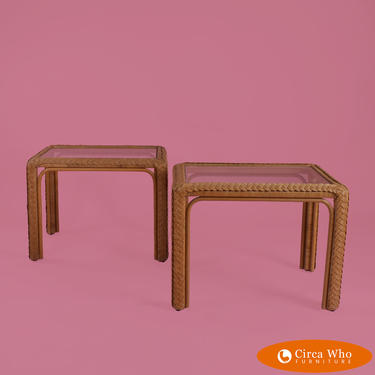 Pair of Wrapped Rattan Side Tables
