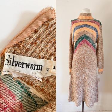 Vintage 1970s Chevron Striped Space Dye Sweater Dress / M (deadstock) by MsTips