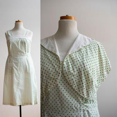 Vintage 1950s Summer Dress / Vintage Cotton Summer Dress / Polka Dot Dress / 1950s Polka Dot Dress XL / Plus Sized Vintage Dress with Jacket by milkandice