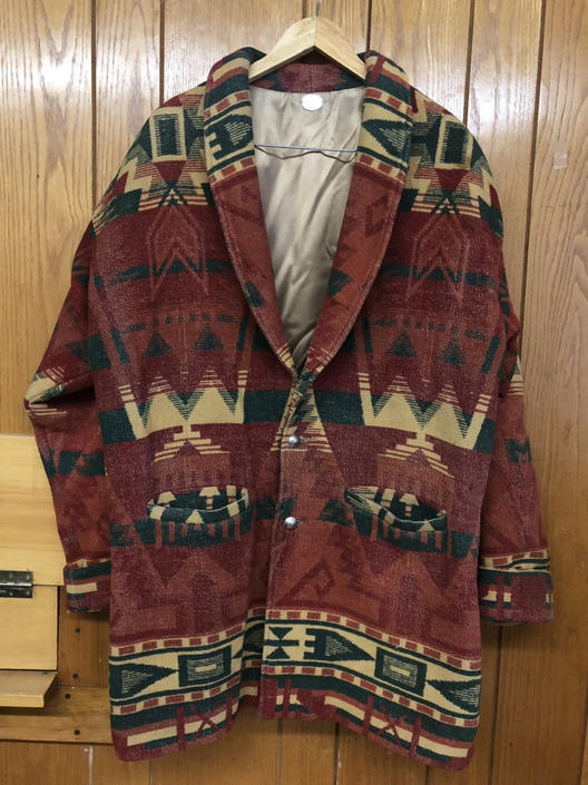Pendleton inspired Southwestern print wool coat w two front pockets. unisex. W/ Shoulder pads. Relaxed fit. Orange, Green Earthy tones by AIDSActionCommittee