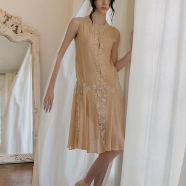 1920s Art deco french net chiffon crepe day dress OOAK Antique dress by DevoreVintage