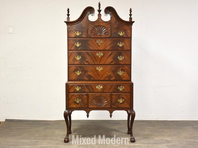 Chippendale Flamed Mahogany Full Bonnet Top Highboy by mixedmodern1
