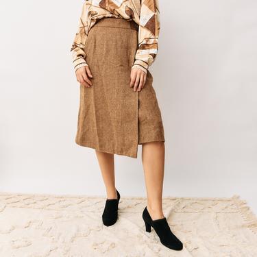 Hermes Vintage Herringbone Midi Skirt, Size 42