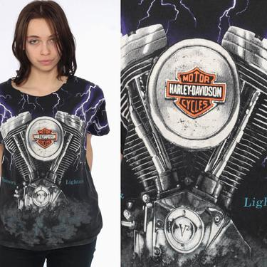 90s Harley Davidson TShirt -- 1990s Lighting Motorcycle Shirt Hawaii Thunder Shirt 90s Biker Tee Black T Shirt 1990s Rocker Medium by ShopExile