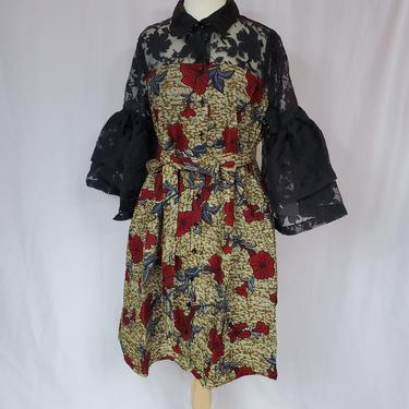 EJIRO Brown and black ankara-organza dress with trumpet sleeves by GLAMMfashions