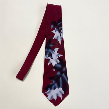 Vintage 1940s Wide Tie Burgundy Oak Leaf Motif by littlestarsvintage