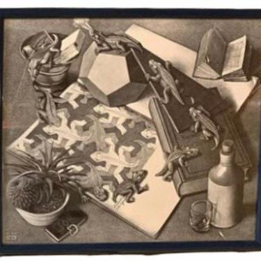 "Mid Century Art, ""Reptiles"" is a lithograph by the Dutch artist M. C. Escher, MCM Print, Modern Abstract Art, Vintage Wall Decor by VivaLaVintagedotTX"