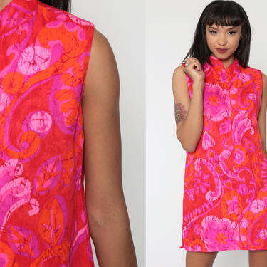 Neon Hawaiian Dress 60s Pink Mini Floral Shift Front Zip Mod Hippie 70s Boho Gogo Vintage 1970s Sleeveless Go Go Bohemian Barkcloth Small by ShopExile