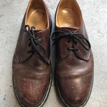 Doc Martens Oxfords Vintage 1990 Distressed Brown Leather Oxfords Shoes UK size 11 by purevintageclothing