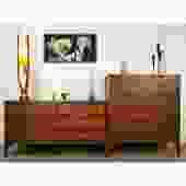 Stunning Walnut Brass MCM Bedroom Set Kent Coffey