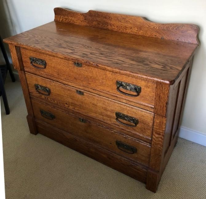 Circa 1890's Oak Victorian Dresser 3 Drawer Chest