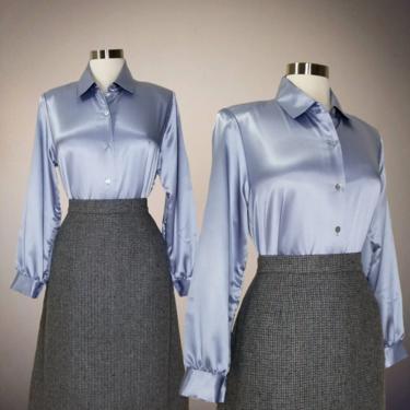 Vintage 80s Liquid Satin Blouse, Medium / Silky Blue Button Blouse / Shiny Cocktail Blouse / Classic Long Sleeve Button Up Dress Blouse by SoughtClothier