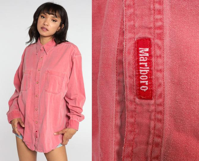 90s Marlboro Shirt Red Button Up Shirt Oxford Cotton Grunge Long Sleeve Plain Oversized 1990s Vintage Extra Large xl by ShopExile