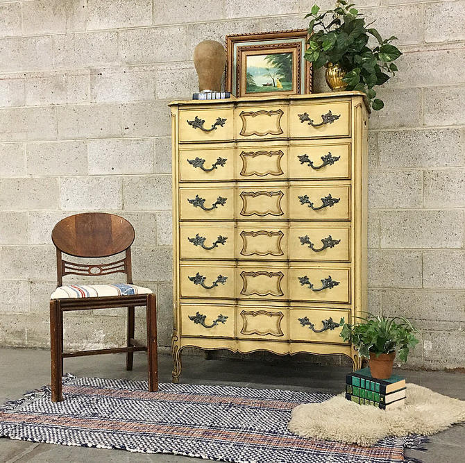LOCAL PICKUP ONLY Vintage Queen Anne Bureau Retro 1960's 6 Drawer Wood Dresser With Carved Scroll Feet + Ornate Metal Hardware for Bedroom by RetrospectVintage215