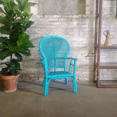 Vintage Modern Rattan Fan Back Arm Dining Accent Chair by ModandOzzie