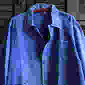 French Indigo Work Wear Jacket, Bleu De Travail Coat, Denim, Patch Repairs, Garden, Chore Wear Farmhouse Peasant by JansVintageStuff
