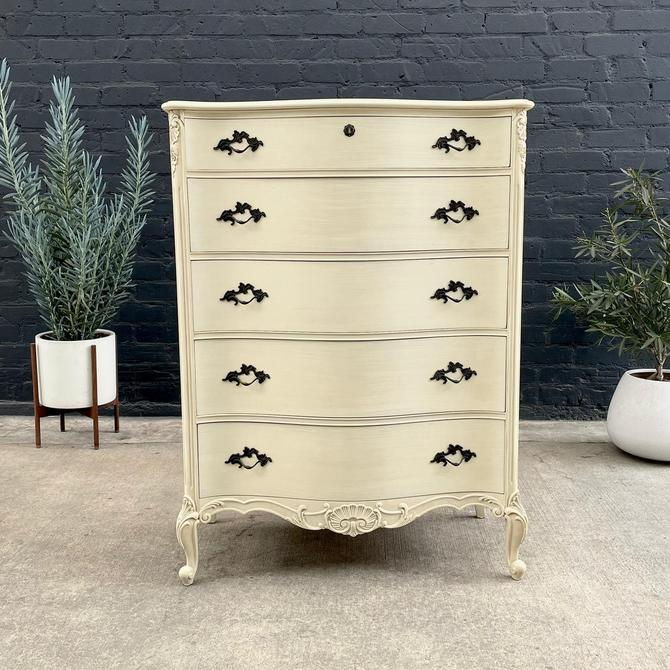 Vintage French Provincial Lacquered Highboy Chest of Drawers, 1960's by VintageSupplyLA