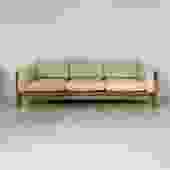 1970s Oak and Cream Leather Bastiano Sofa