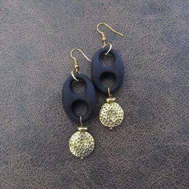Bold earrings, black and brass animal print earrings, modern earrings, unique Art Deco earrings, chunky statement earrings rubber by Afrocasian