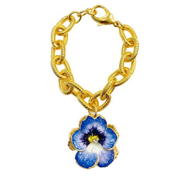 The Pink Reef blue pansy bracelet