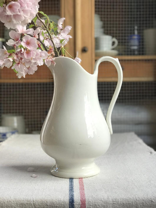Beautiful vintage Belgian ironstone pure white pitcher by Grainsacfrenchvintag
