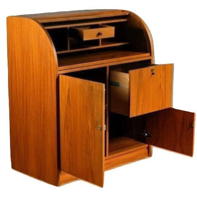 Smaller Danish Modern Teak Writing Desk from Denmark With Tambour (Roll Top) Cover, SCAN Mid Century MCM by RetroSquad