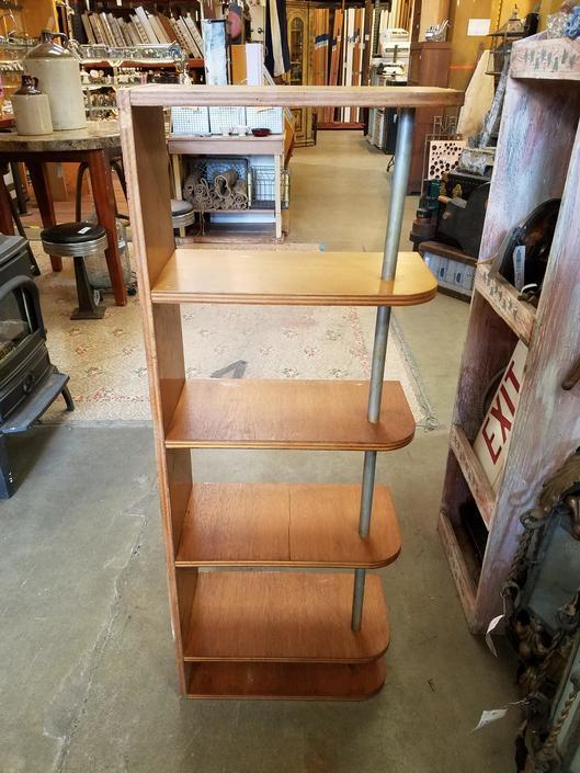 Mid Century Style Plywood Corner Shelving Unit H48 x W18.25 x D9.25
