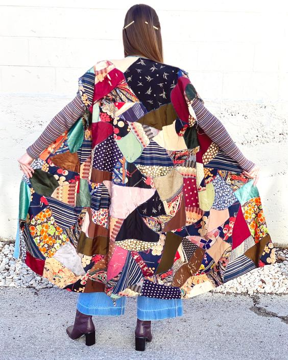 1940's Raw Edge Silk Patchwork Duster