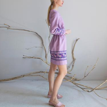 Vintage 1960's purple flower ric rac trimmed dress / size XS by EELT