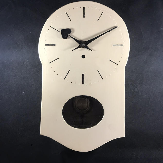 Vintage Wall Clock White Time Only German HAC Overhauled Movement Sweet Hands by accokeekpickers