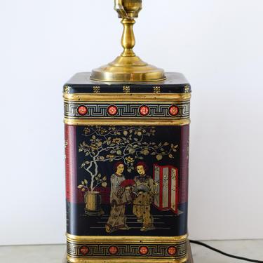 Vintage Mid Century Frederick Cooper Chinoiserie Black Tea Tin Lamp by CapitolVintageCharm