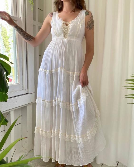 70s Ivory Corset Lace-Up Maxi Dress