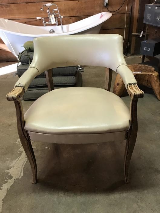 White leather barrel Chair