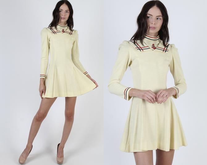 Vintage 60s Mod Scooter Dress / Sweater-Like 1960s Tennis Outfit / Preppy Majorette Marching Band / Nautical Ivory Micro Mini Dress by americanarchive
