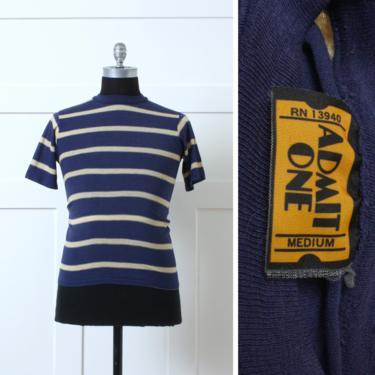 vintage 1970s striped tee • unisex navy blue stripe tshirt • short sleeve knit tee by LivingThreadsVintage