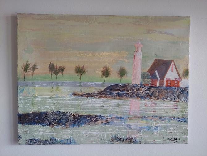 Original Seascape Lighthouse Painting by ModandOzzie