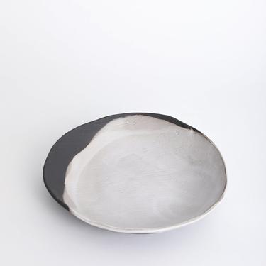 Rustic Pour Over Pasta Bowl, ceramic bowl, black and white bowl, stoneware bowl, pottery bowl by TagliaferroCeramics