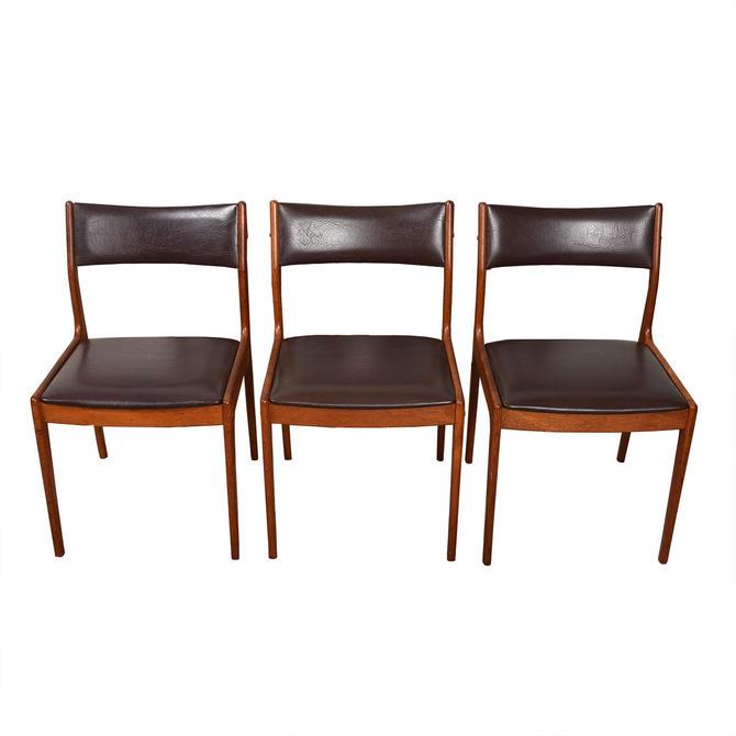 Set of 3 Uldum Danish Modern Dark Brown + Teak Side Dining Chairs