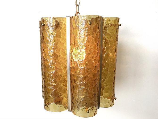 vintage mid century amber glass hanging lamp.