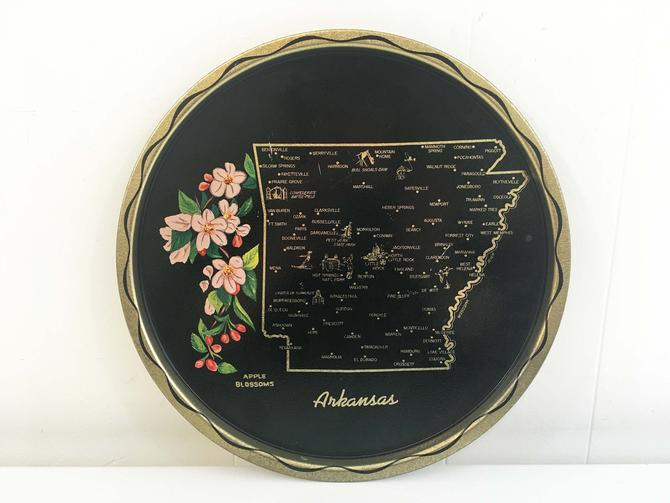 Vintage Metal Arkansas Drink Tray Plate Souvenir Retro Round Mid-Century Barware Black White Green Gold Apple Blossoms Bar by CheckEngineVintage