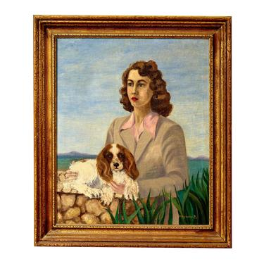 Beautiful oil on canvas painting of 1940s lady with her cocker spaniel dog by PeachModern