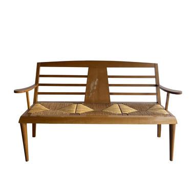 Bench with 3 Seats in Wood & Straw, 1950