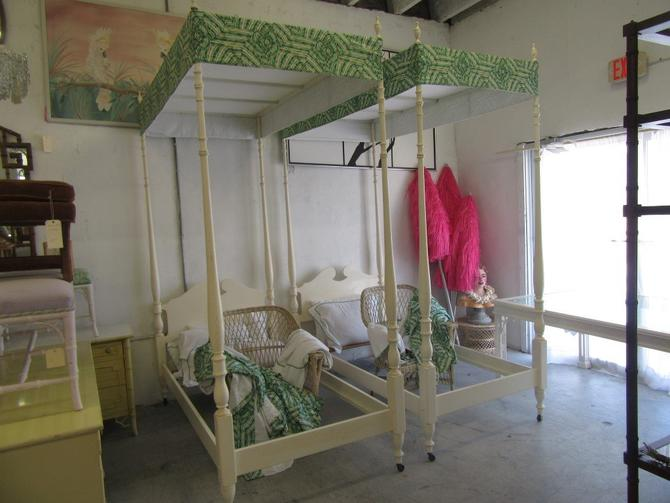8.5Ft Pair Faux Bamboo Canopy Beds