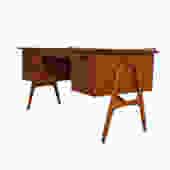 Svend Madsen Sculptural Teak Executive Desk w/Rear Bookshelf