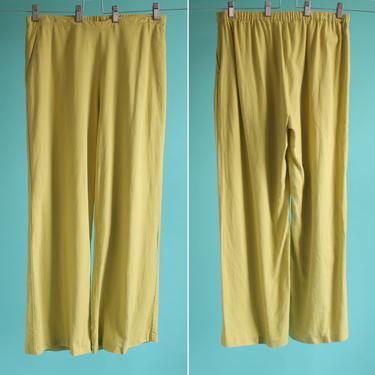 Chartreuse Linen Blend High Waist Relaxed Pants fits M - L by BeggarsBanquet