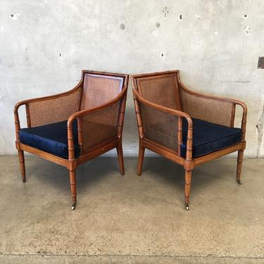 Pair of 1962 W.J. Sloane Faux Bamboo & Cane Occasional Chairs