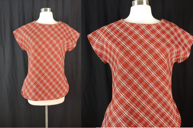 Vintage Seventies Red Plaid Polyester Short Sleeve Top - 70s Fire Islander Small Red Shirt by JanetandJaneVintage